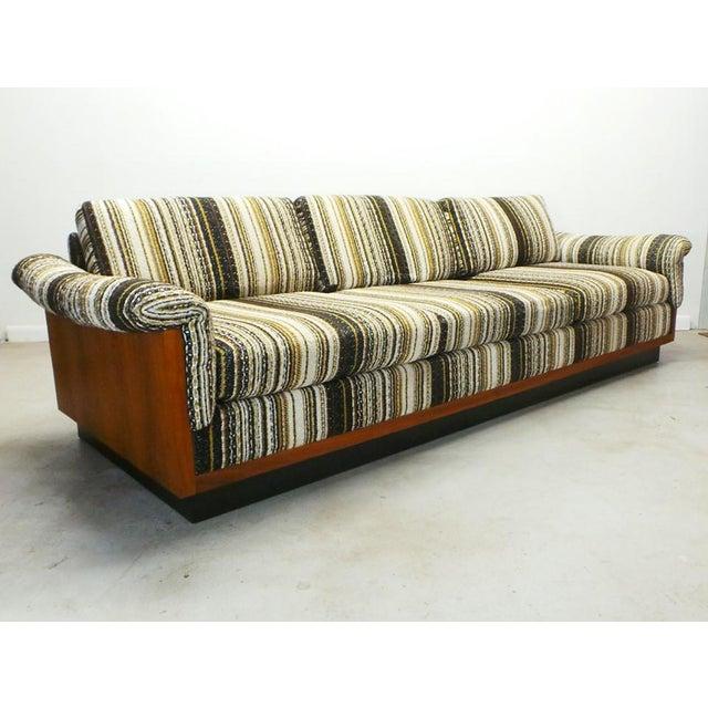 Mid-Century Modern Mid Century Boho Modern Walnut Milo Baughman Style Sofa For Sale - Image 3 of 8