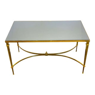 Neoclassical Gilt Bronze Coffee Table With Grey Mirror Top For Sale