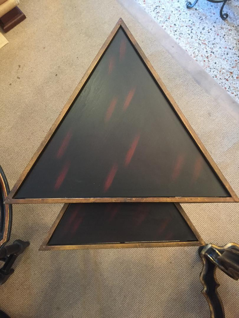 Aged Bronze Finish Triangular Nesting Tables   A Pair   Image 3 Of 6