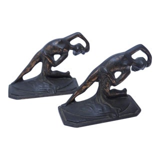 Art Deco Arched Lady Nude Bookends - A Pair