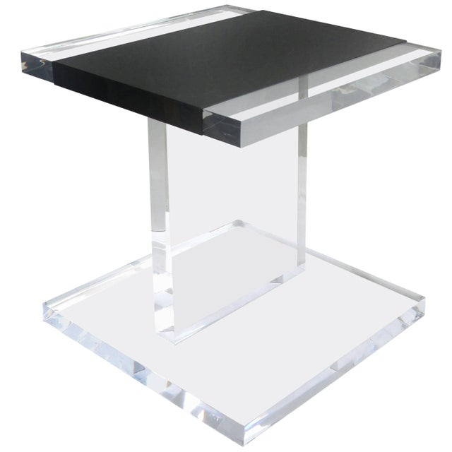 Acrylic Custom Lucite Side Table With Removable Black Acrylic Sleeve For Sale - Image 7 of 7