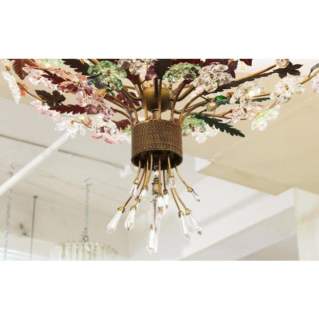 1970s Italian Mid-Century Modern Murano Glass Flower Bouquet Chandelier For Sale - Image 4 of 13
