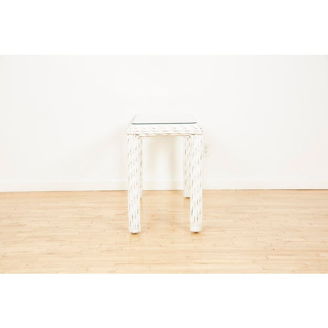 Rustic Vintage Thick White Wicker Console Table, 1980s For Sale - Image 3 of 13