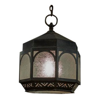 English Octagonal Lantern With Seven Panels of Frosted Glass For Sale