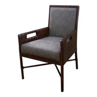 McQuire Woven Leather Dining Arm Chair by Thomas Pheasant For Sale
