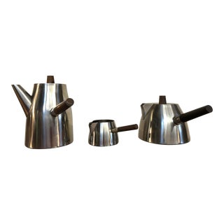 Vintage Danish Stainless and Rosewood Coffee and Tea Set Made in Denmark by Lundtofte For Sale