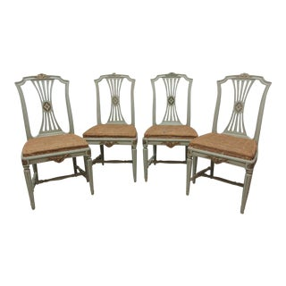 Swedish Gustavian Original Finish Side Chairs - Set of 4 For Sale