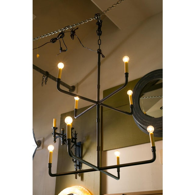 2010s Two-Tier Hand-Made Iron Chandelier For Sale - Image 5 of 6