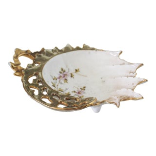 Vintage Gold Painted Shell Ring Dish