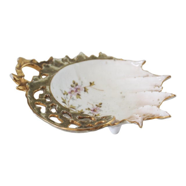 Vintage Gold Painted Shell Ring Dish For Sale