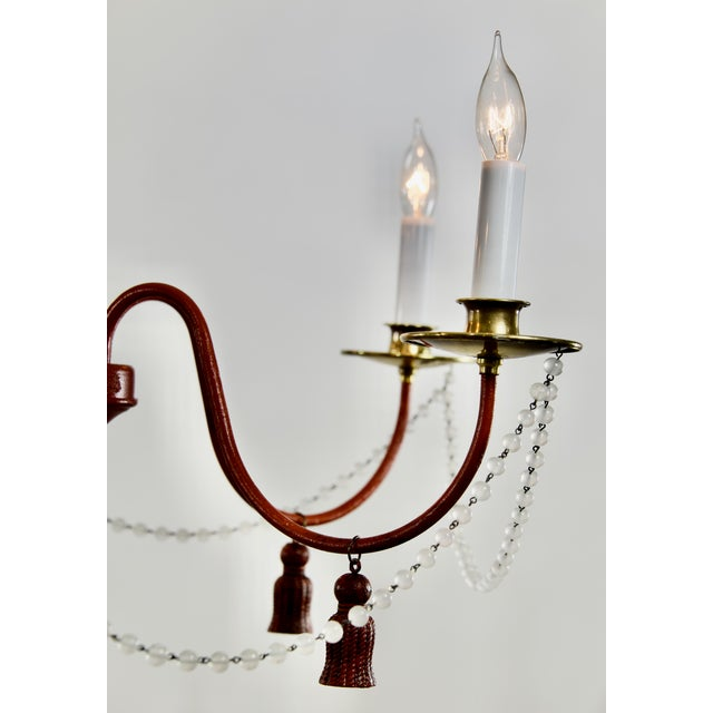 1970s Mid-Century Modern Red Painted Iron 5 Arm Chandelier For Sale - Image 5 of 8