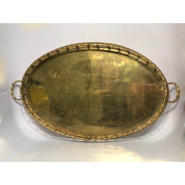 Vintage Faux Bamboo Brass Tray For Sale - Image 4 of 5