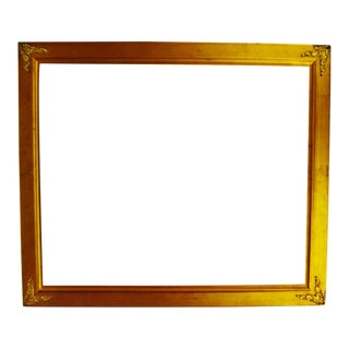 Vintage Gilt Gesso Frame with Brass Filigree Corner Adornments For Sale