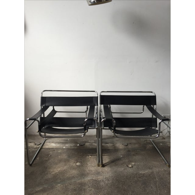Wassily Style Chrome & Black Leather Chairs - Pair - Image 3 of 11