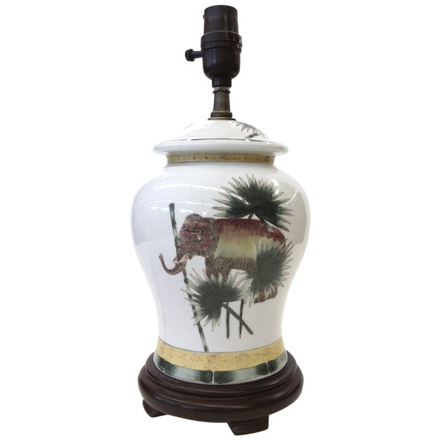 Safari Style Porcelain Elephant Lamp - Image 1 of 10