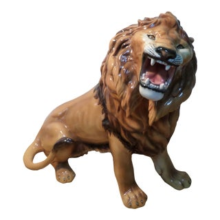 Italian Glazed Terra Cotta Lion, Mid-Century For Sale