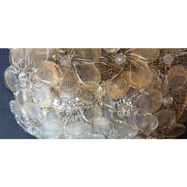 Metal Mid-Century Modern Murano Glass Gold Flower Sconces by Barovier - a Pair For Sale - Image 7 of 11