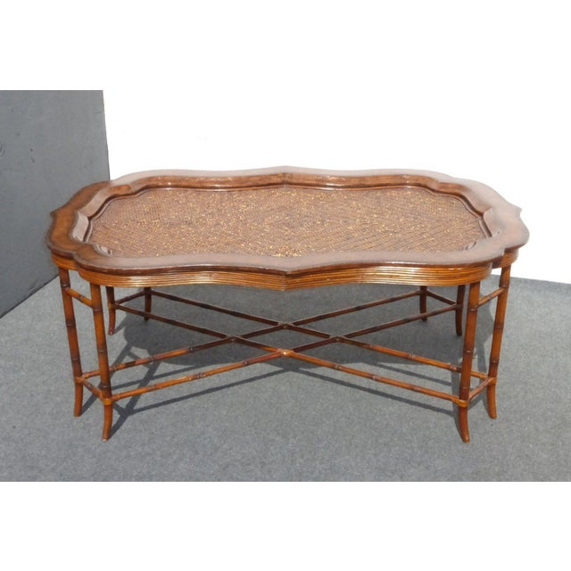 Maitland-Smith Rattan & Leather Coffee Table - Image 2 of 11