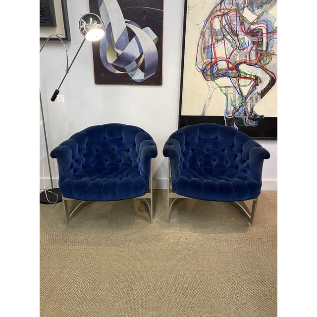 Vintage Milo Baughman Thayer Coggin Cantilever Chrome Tufted Club Chairs Navy Blue - a Pair Typical condition for age. One...