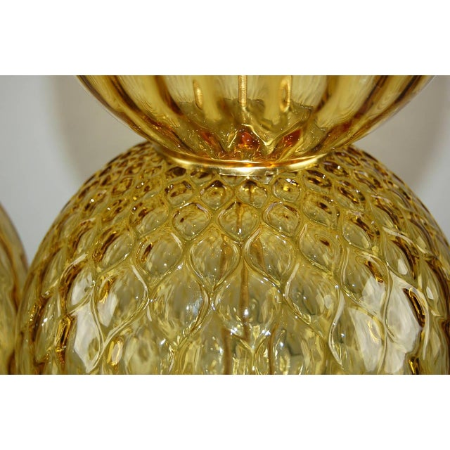 Murano Vintage Murano Stacked Ball Glass Table Lamps Gold For Sale - Image 4 of 10