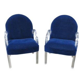 Pair of Pace Collection Lucite Waterfall Dining or Side Chairs Circa 1980 For Sale