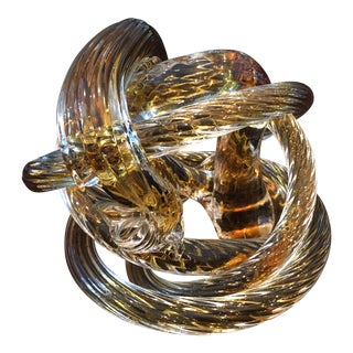 "Late 20th Century Sculpted Glass Rope ""Cobra"" Sculpture For Sale"