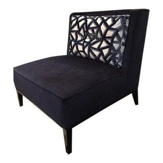 Blue Velvet Slipper Chair For Sale