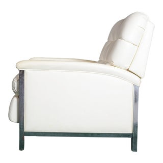 1980s Vintage White Leather and Chrome Barcalounger For Sale