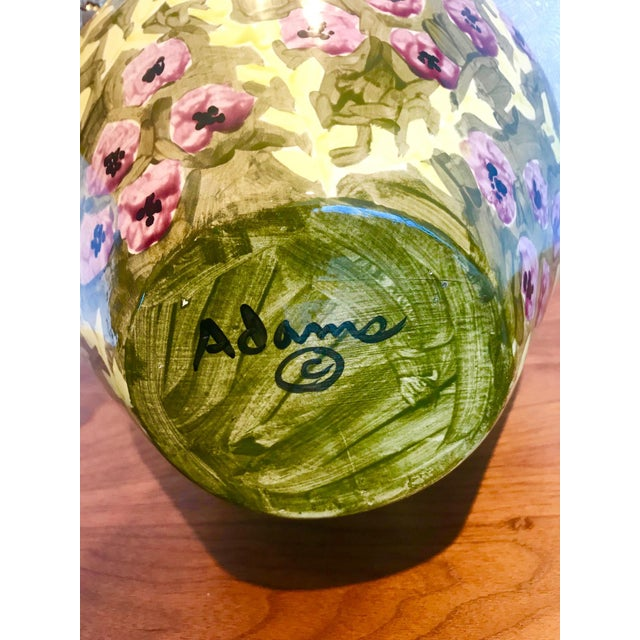 Impressionist Hand Painted Ceramic Urn Vase, Italy 1980's For Sale - Image 12 of 13