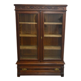 Antique Victorian Walnut Two Door Bookcase For Sale