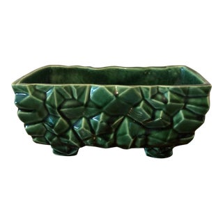 Vintage Mid Century Green Pottery Ceramic Planter For Sale