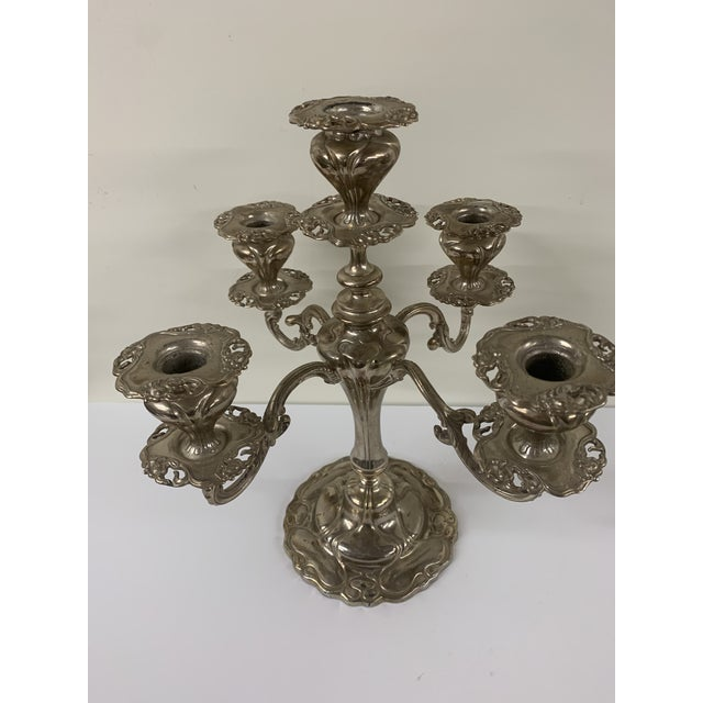 Art Nouveau Early 20th Century Antique Silver Plated Candle Holder by Victor Silversmiths For Sale - Image 3 of 9