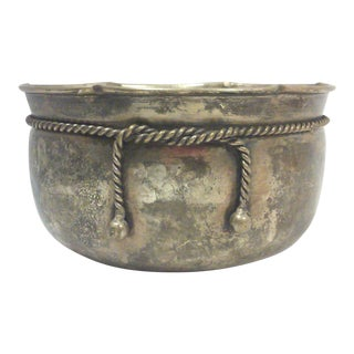 Silverplated Decorative Rope Trim Potpourri Bowl or Planter