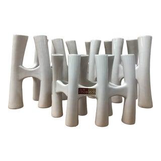 Vintage White Coral Vase Flower Ceramic Vases - 3 Piece Set For Sale