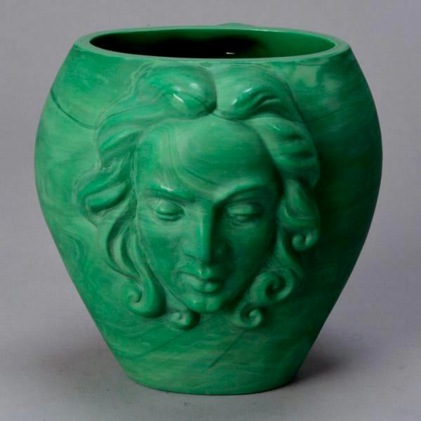 Stunning circa 1930s Czech malachite glass vase with a woman's face on two sides. Excellent antique condition with minor...
