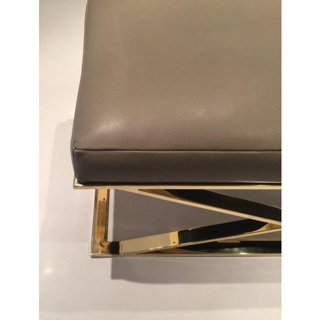 Milo Baughman X-Leg Leather Bench - Image 3 of 7