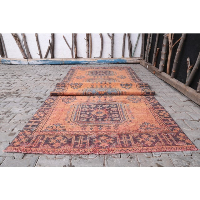"""1960's Vintage Turkish Hand-Knotted Wide Runner Rug - 4'1"""" X 11'5"""" For Sale - Image 6 of 11"""