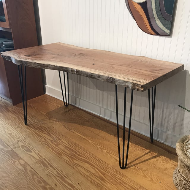 Organic Modern Live Edge Maple Slab Desk With Hairpin Legs For Sale - Image 12 of 12