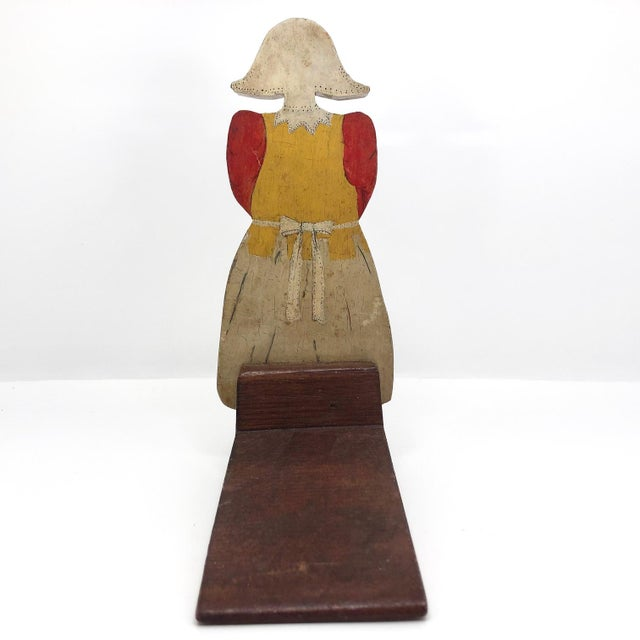 Folk Art Dutch Woman Hand-Painted Wooden Doorstop For Sale - Image 11 of 13