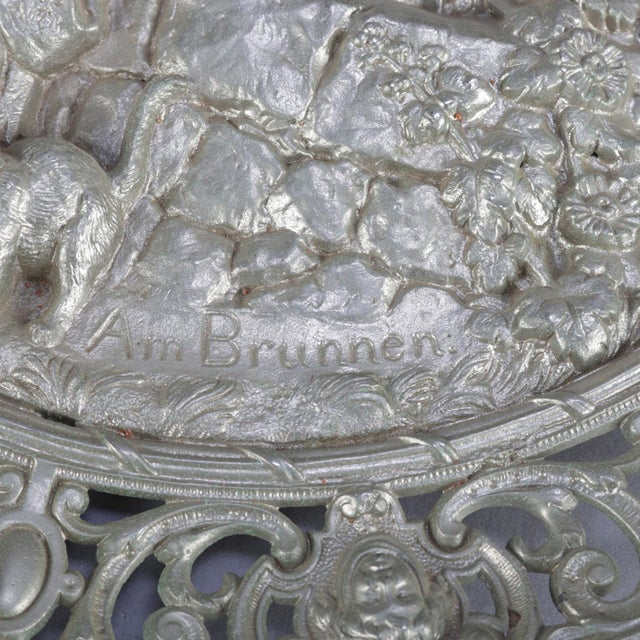 """Antique Gilt Silver High Relief Charger """"Am Brunnen"""" 'At the Fountain' For Sale - Image 6 of 7"""