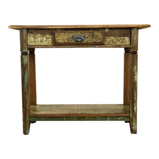 Reclaimed Peroba Wood Handmade Console Table For Sale