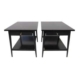 Paul MCobb Planner Group Satin Black Maple Nightstands / Side Tables - a Pair For Sale