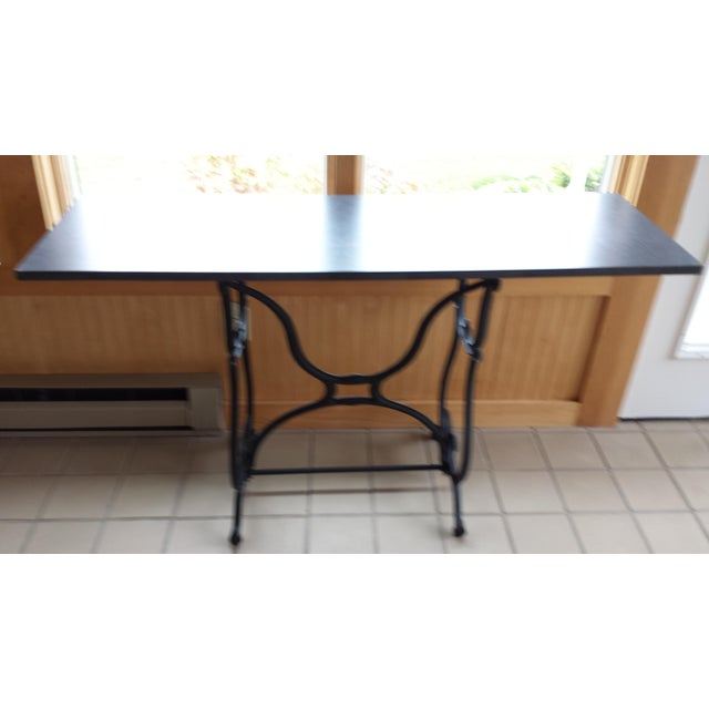 Traditional Wrought Iron & Slate Top Console Table For Sale - Image 3 of 11