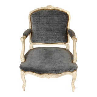 Louis XV Style Chalk White Fauteuil Chair For Sale