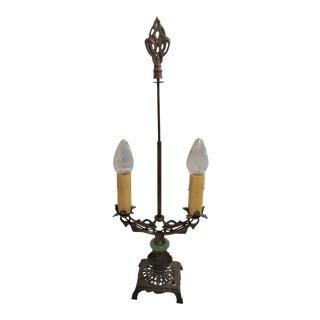 Vintage Art Nouveau 2 Bulb Brass & Slag Glass Table Lamp, Bridge Style For Sale