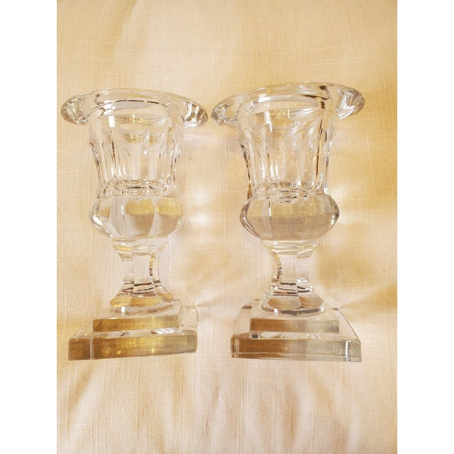 Transparent Small Pair of Crystal Urns -A Pair For Sale - Image 8 of 8