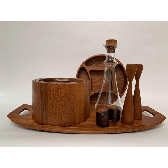 Vintage Mid-Century Modern Danish Teak Barware Tray and Serving Set For Sale - Image 13 of 13