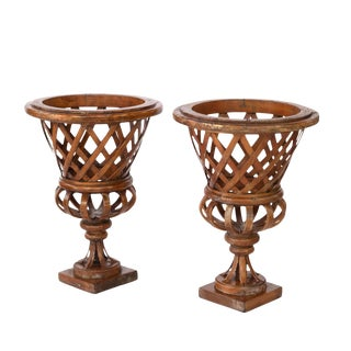 Borghese Style Urns Reimagined in Carved and Twisted Wild Cherry Wood - A Pair For Sale