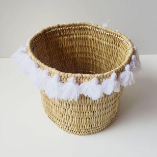 Moroccan White Tassel Large Basket Preview