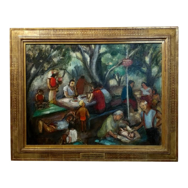 Frances Beatrice Lieberman-1935 Picnic at Alum Rock-Oil Painting-S.F. Museum of Art For Sale